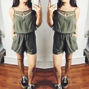 4/$20 Olive Green Romper with Beaded Top